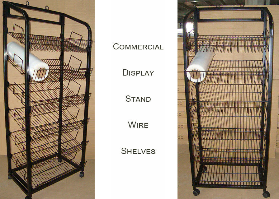 Multiple Shelves KD Structure Wire Rack Display / Light Duty Wire Retail Display Racks